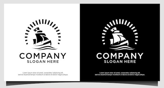 Silhouette di dhow logo design, barca a vela tradizionale dall'asia africa