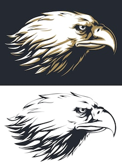 Vista laterale della testa dell'aquila sagoma isolata, mascotte logo in stile bianco e nero