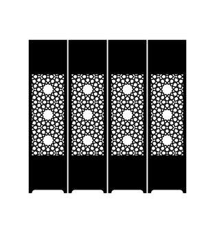 Sagoma del setto orientale di colore nero su sfondo bianco. illustrazione vettoriale.