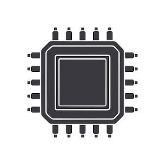 Sagoma di circuito integrato elettronico vista dall'alto illustrazione vettoriale