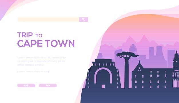 Silhouette di famosi punti di riferimento, attrazioni turistiche. banner di paesaggio urbano sudafricano.