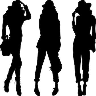 Silhouette di modelli di moda ragazze top