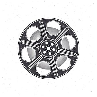 Silhouette di film stock vista frontale illustrazione vettoriale bobina di macchina fotografica d'epoca industria cinematografica