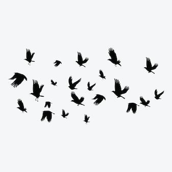 Silhouette di uno stormo di uccelli. contorni neri di uccelli in volo. piccioni volanti.