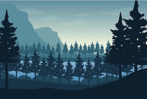Sfondo di paesaggio forestale sagoma Vettore Premium