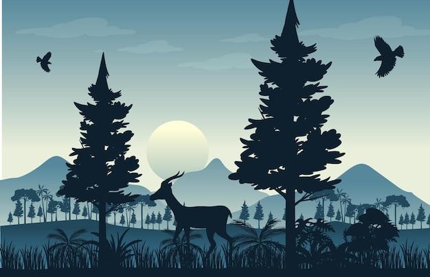 Sfondo di paesaggio forestale sagoma