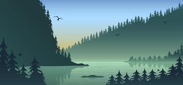 Silhouette paesaggio forestale, design piatto con illustrazione di gradiente