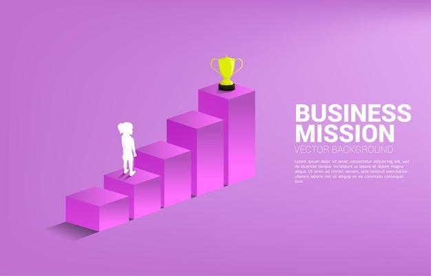 Ragazza della siluetta che progetta di ottenere il trofeo in cima al grafico. concetto aziendale di obiettivo e missione di visione
