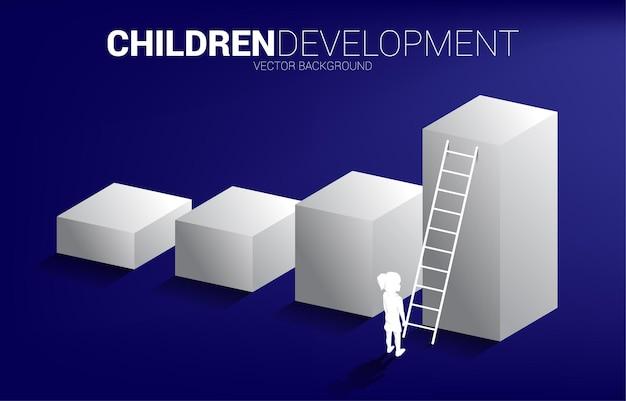 Siluetta della ragazza in piedi sul grafico a barre con scala. bandiera dell'educazione e dell'apprendimento dei bambini.