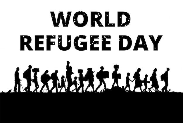 Silhouette di un gruppo di rifugiati che cammina attraverso un campo