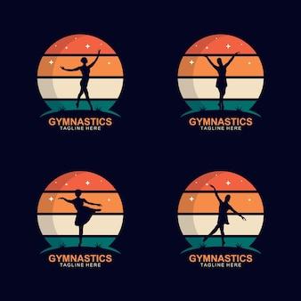 Silhouette di ginnastica logo design vector