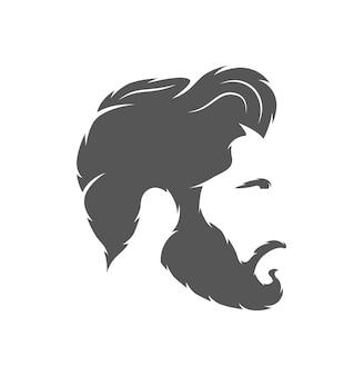 Silhouette di un taglio di capelli isolato su sfondo bianco