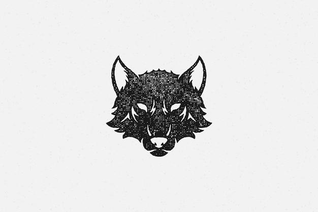 Siluetta del lupo selvatico testa come effetto timbro disegnato a mano della fauna selvatica di simbolo