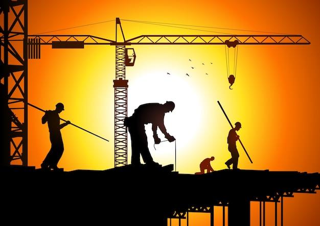 Illustrazione della sagoma di lavoratori edili