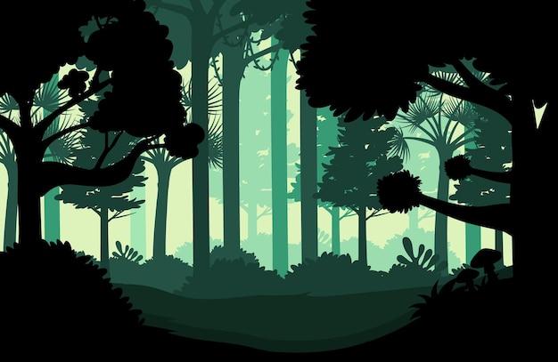 Sfondo di paesaggio giungla sagoma