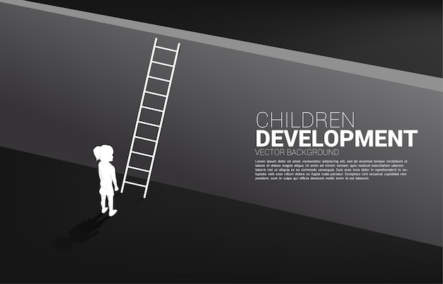 Sagoma di bambino pronto ad attraversare il muro con la scala. bandiera dell'educazione e dell'apprendimento dei bambini.