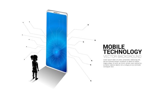 Ragazzo di sagoma in piedi con grande telefono cellulare e cpu. illustrazione di affari della tecnologia mobile e dei bambini.