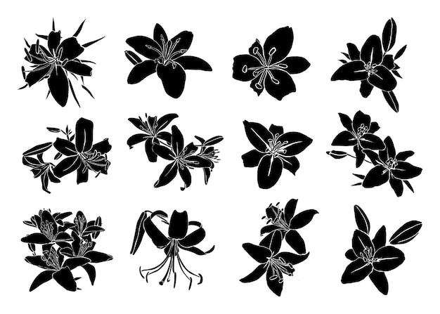 Silhouette di fiori di giglio in uno stile astratto semplice contemporaneo su sfondo bianco. illustrazione vettoriale per t-shirt stampa, carta, poster