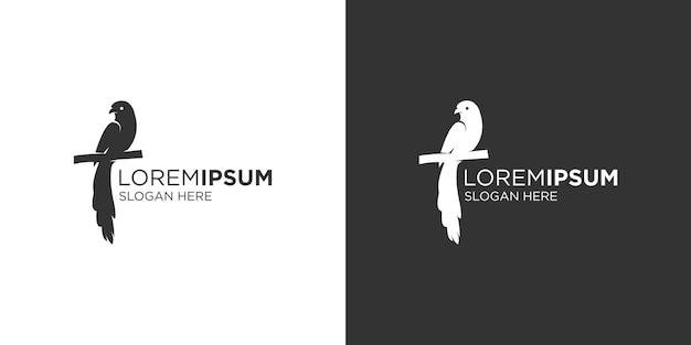 Modello di progettazione del logo dell'uccello a coda lunga sagoma