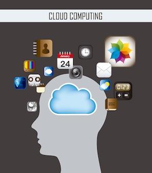 Silhouette uomo e cloud computing illustrazione vettoriale
