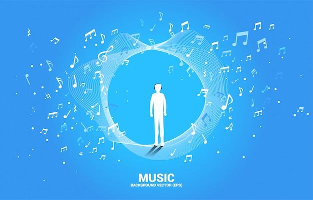 Siluetta dell'uomo con flusso di dancing della nota di melodia della musica e della cuffia.