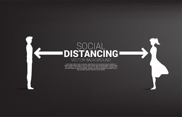 La siluetta dell'uomo e della donna che sta con la distanza per evita il virus. concetto di allontanamento sociale e isolamento.