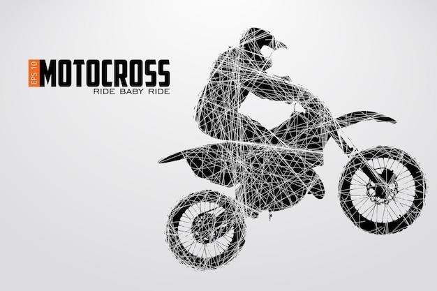 Sagoma di un pilota di motocross