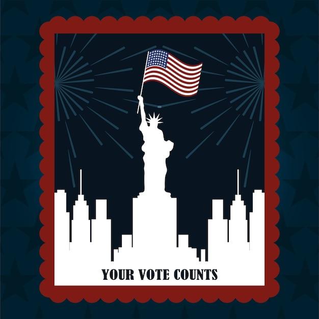 Silhouette della città di new york con il timbro postale della bandiera, il voto politico e le elezioni negli stati uniti, lo fanno contare illustrazione