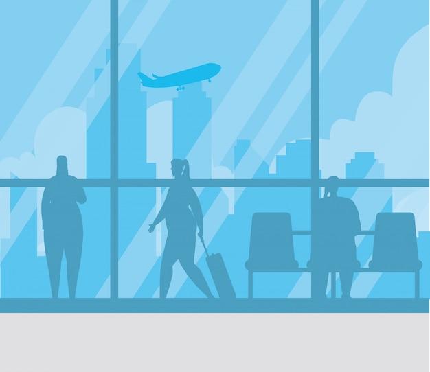 Silhouette di persone nel disegno di illustrazione vettoriale terminal dell'aeroporto