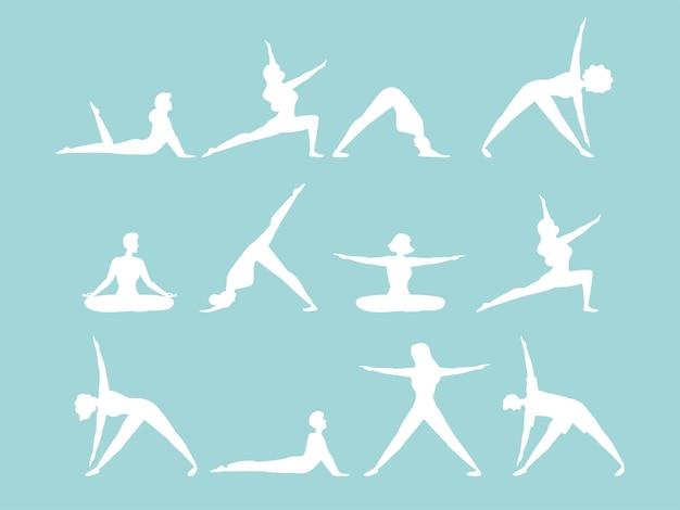 Silhouette persone che praticano yoga set