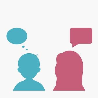 Silhouette persone con bolle di discorso. l'uomo e la donna pensano. illustrazione vettoriale.