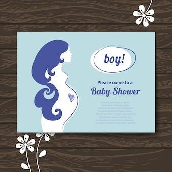 Madre incinta della siluetta. invito per la festa del bambino