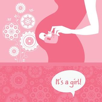 Madre incinta della siluetta con le scarpette del bambino. biglietto di auguri neonato