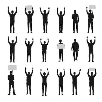 Silhouette di persone che protestano con le mani in alto insieme vettoriale