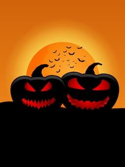 Zucche silhouette con la luna piena nella notte di halloween illustrazione