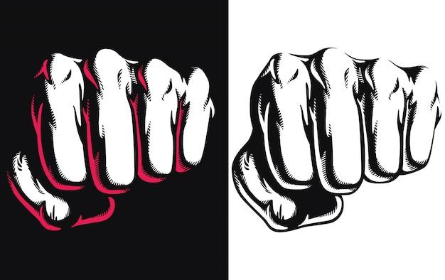 Profili il colpo del colpo del punzone che colpisce l'illustrazione di logo dell'icona di attacco di combattimento serrata pugno di vista frontale isolata su fondo bianco