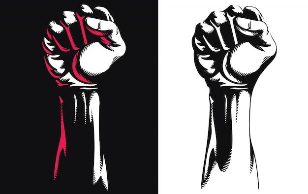 Siluetta sollevata illustrazione di logo dell'icona del punzone di protesta serrata mano del pugno isolata su fondo bianco
