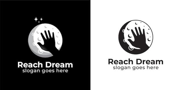 Silhouette raggiungere il sogno con la luna logo design in stile bianco e nero