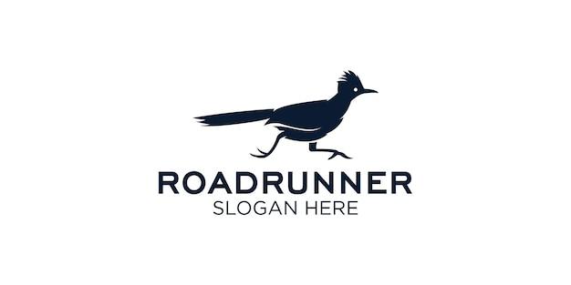 Modello di progettazione del logo silhouette roadrunner