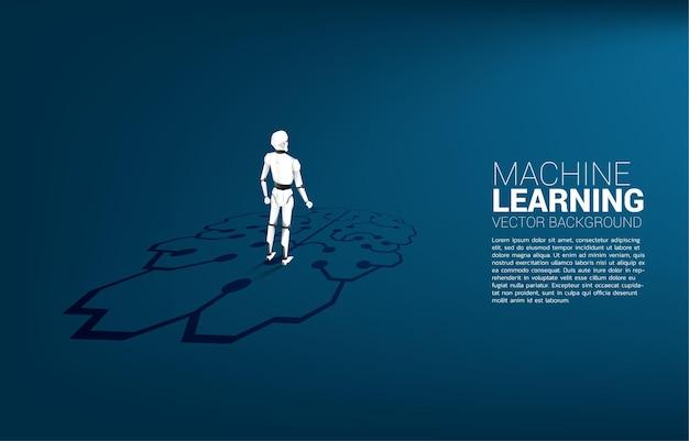 Sagoma di robot in piedi sul grafico dell'icona del cervello sul pavimento. concetto di investimento in intelligenza artificiale.