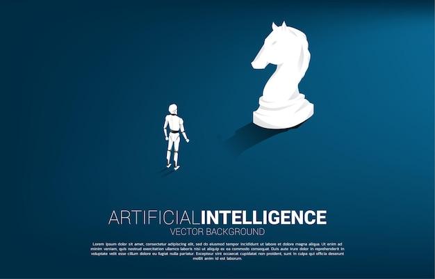 Sagoma di robot in piedi con sagoma di pezzo degli scacchi cavaliere. concetto di investimento in intelligenza artificiale.