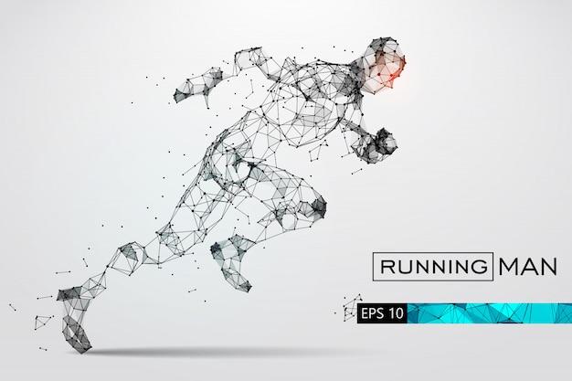 Silhouette di un uomo che corre dalle particelle. illustrazione vettoriale