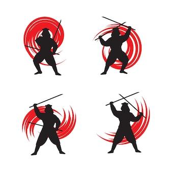 Disegno dell'illustrazione di vettore dell'icona del samurai della siluetta