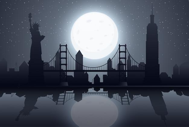 Scena della siluetta con new york alla notte