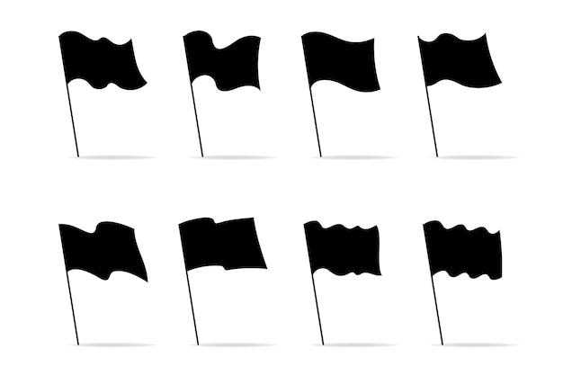 Silhouette set icone bandiere nere per la decorazione grafica. illustrazione piatta moderna. raccolta di diverse bandiere isolate su bianco.