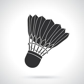 Silhouette di volano per badminton da piume di uccelli attrezzature sportive illustrazione vettoriale