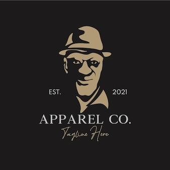 Silhouette, sorridente, vecchio, usando, cappello, in, retro, logotipo, concept