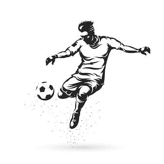 Giocatori di calcio di sagoma che salta con la palla
