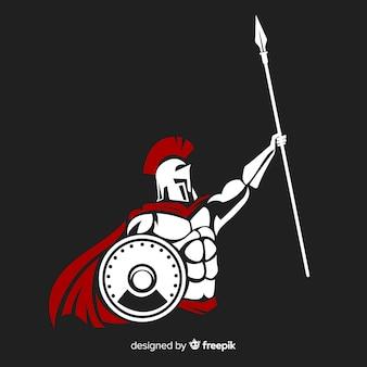 Silhouette di guerriero spartano con giavellotto