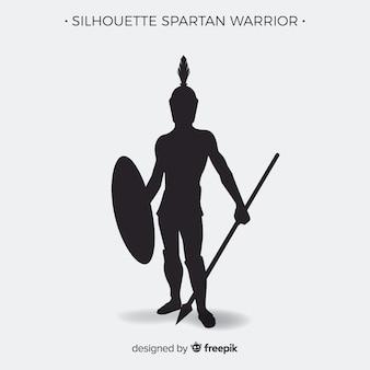 Silhouette di guerriero spartano con giavellotto Vettore Premium